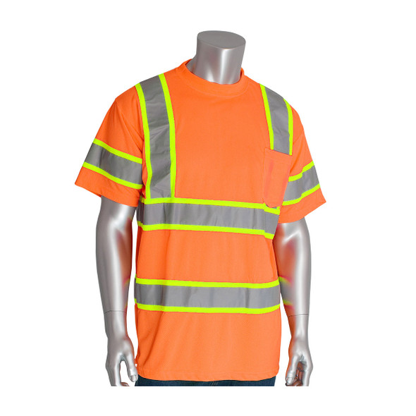 PIP Class 3 Hi Vis Short Sleeve T-Shirt Two Tone Tape 313-CNTSP Orange