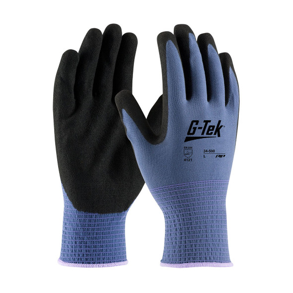 PIP Box of 144 Pair G-Tek Seamless Knit Blue Nylon Shell with Nitrile Grip Gloves 34-500