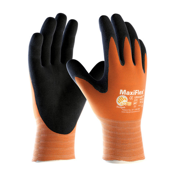 PIP Case of 144 Pair MaxiFlex Hi-Vis Orange Nylon Glove Foam Grip Gloves 34-8014