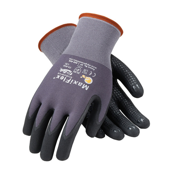 PIP Case of 144 Pair A1 Cut Level MaxiFlex Nylon Gloves with Nitrile Micro Dot Grip 34-844 Top