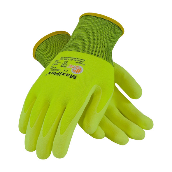 PIP Case of 144 Pair A1 Cut Level Hi-Vis MaxiFlex Gloves with Nitrile Grip 34-874FY Top