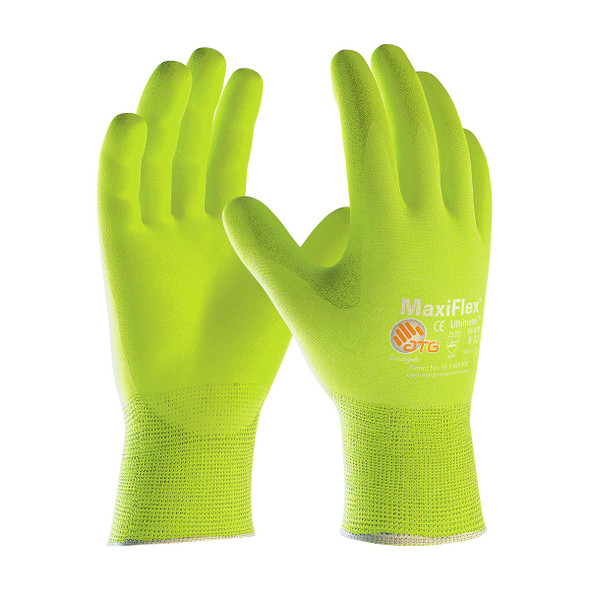 PIP Case of 144 Pair A1 Cut Level Hi-Vis MaxiFlex Gloves with Nitrile Grip 34-874FY Pair