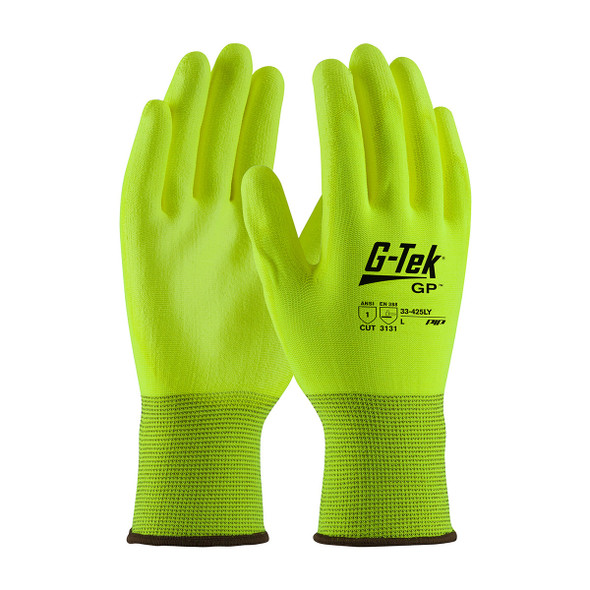 PIP Box 300 Pair A1 Cut Level G-Tek GP Hi-Vis Yellow Polyester Glove with Polyurethane 33-425LY