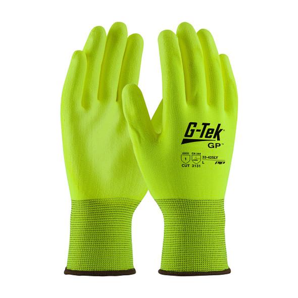 PIP Box 300 Pair A1 Cut Level G-Tek GP Hi-Vis Yellow Polyester Glove with Polyurethane 33-425LY