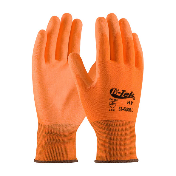 PIP Box of 300 Pair A1 Cut Level G-Tek Hi-Vis Polyester Gloves 33-425OR