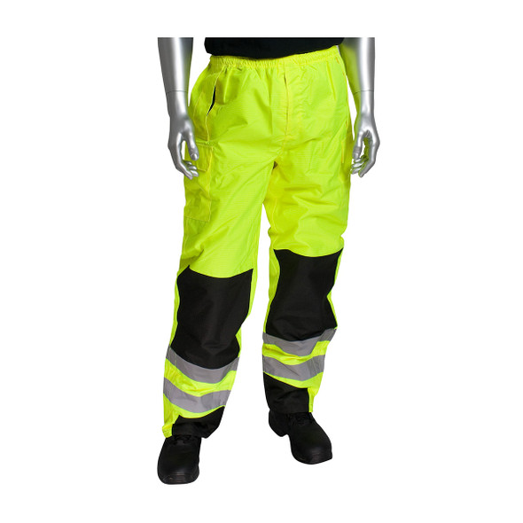 PIP Class E Hi Vis Rip-stop Pants with Black Trim and Knees 318-1771 Yellow