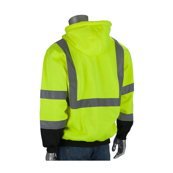 PIP Class 3 Hi Vis Hooded Pullover Sweatshirt with Black Bottom 323-1350B Back