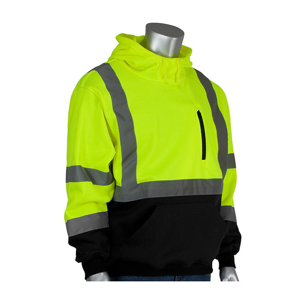PIP Class 3 Hi Vis Hooded Pullover Sweatshirt with Black Bottom 323-1350B Yellow
