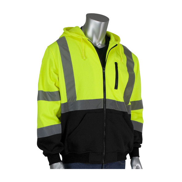 PIP Class 3 Hi Vis Full Zip Hooded Sweatshirt with Black Bottom 323-1370B Yellow Front