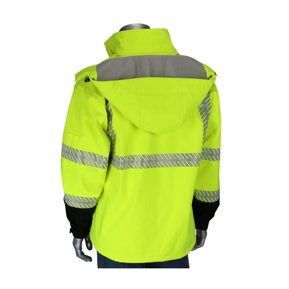 PIP Class 3 Hi Vis Lime Yellow Softshell Fleece Lined Jacket 333-1550 Back