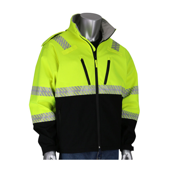 PIP Class 3 Hi Vis Lime Yellow Softshell Fleece Lined Jacket 333-1550 Front