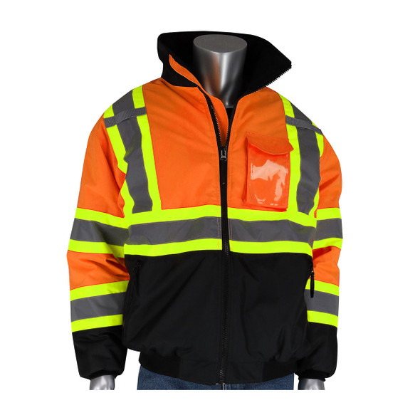 PIP Class 3 Hi Vis Two-Tone Black Bottom Bomber Jacket 333-1745 Orange Front
