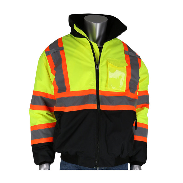 PIP Class 3 Hi Vis Two-Tone Black Bottom Bomber Jacket 333-1745 Yellow Front