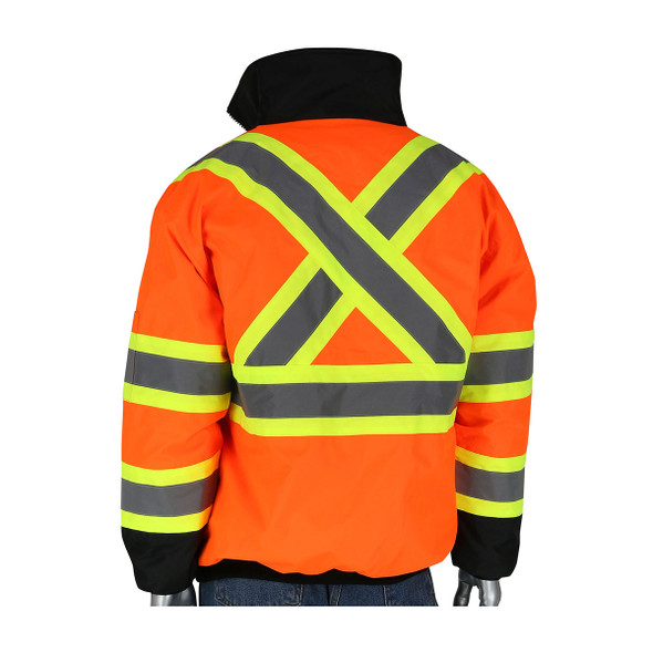 PIP Class 3 Hi Vis Two-Tone X-Back Black Bottom Bomber Jacket 333-1745X Orange Back