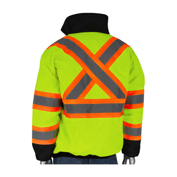 PIP Class 3 Hi Vis Two-Tone X-Back Black Bottom Bomber Jacket 333-1745X Yellow Back
