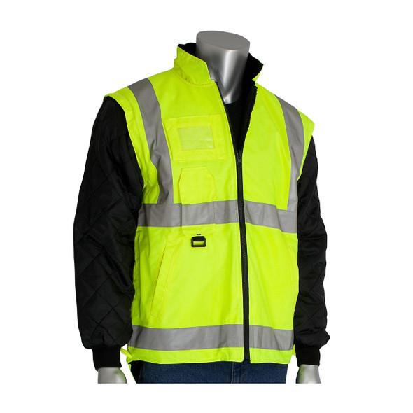 PIP Class 3 Hi Vis 7-in-1 Coat 343-1756 Yellow Liner
