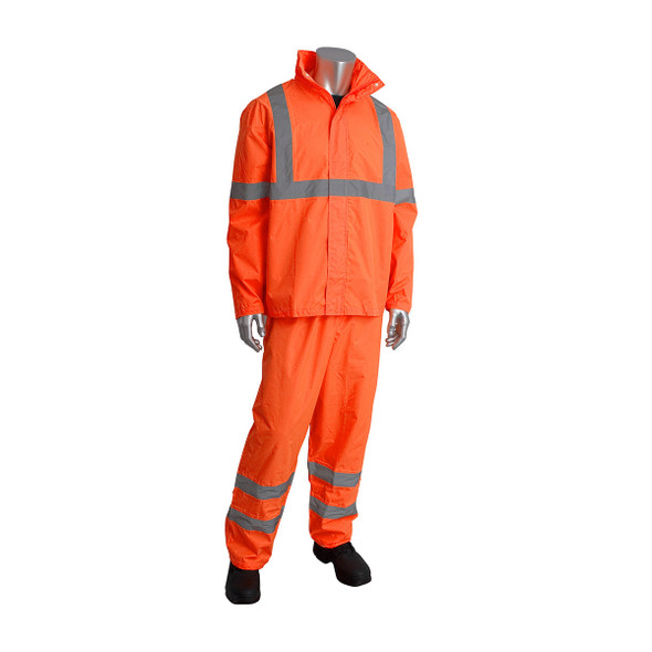 PIP Class 3 Hi Vis Two-Piece Rainsuit 353-1000 Orange Suit