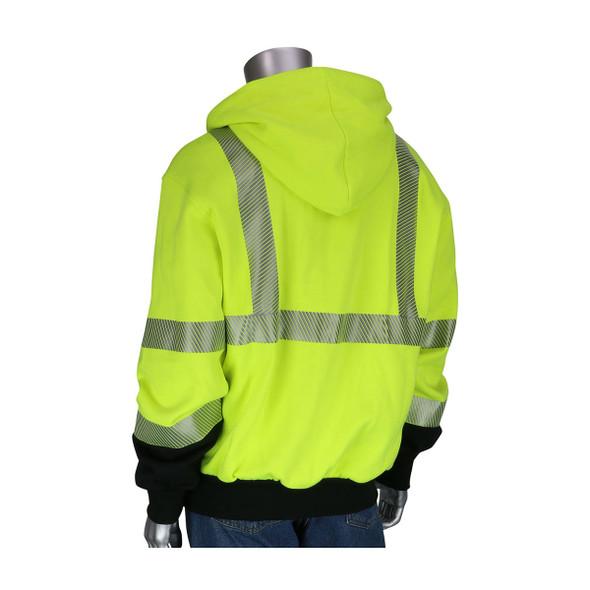 PIP FR Class 3 Hi Vis Black Bottom FR Sweatshirt 385-1370FR Back