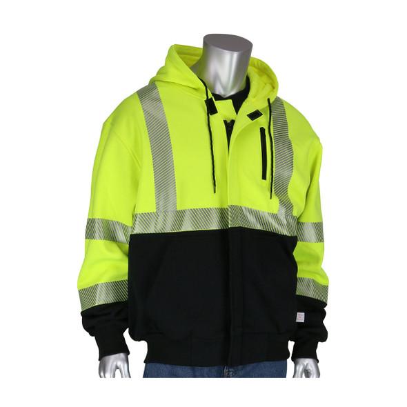 PIP FR Class 3 Hi Vis Black Bottom FR Sweatshirt 385-1370FR Front