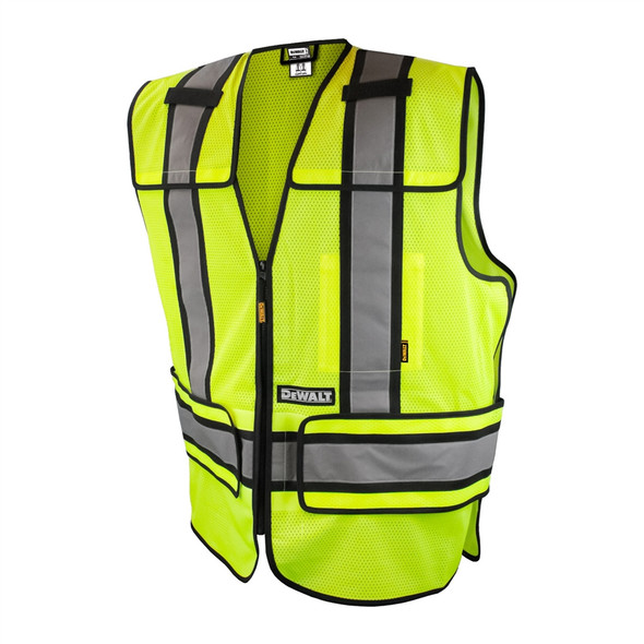 DeWALT Class 2 Hi Vis Lime Adjustable Breakaway Vest DSV421 Front