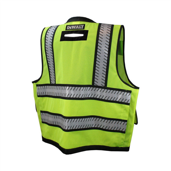 DeWALT Class 2 Hi Vis Green Heavy Duty Surveyor Vest with Black Bottom Trim DSV521 Back