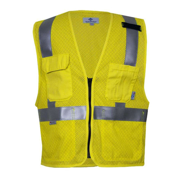 NSA FR Class 2 Hi Vis Yellow Anti Static Mesh Road Vest VNT99509 Front