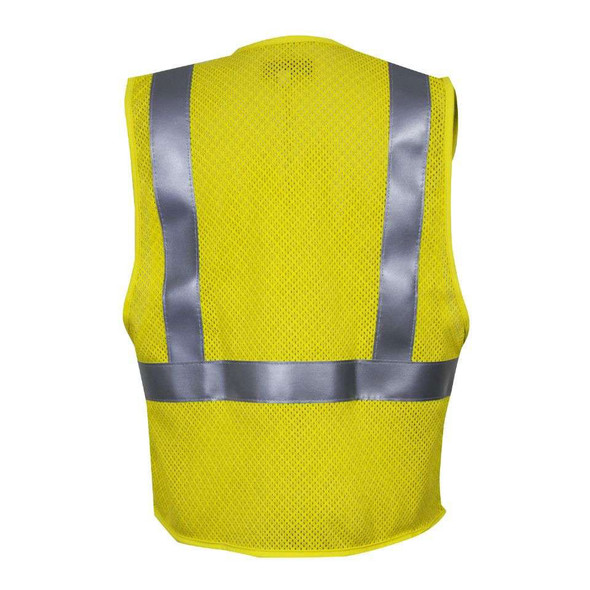 NSA FR Class 2 Hi Vis Yellow Anti Static Mesh Road Vest VNT99509 Back
