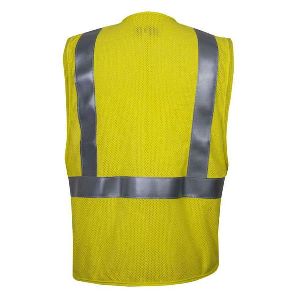 NSA FR Class 2 Hi Vis Yellow Mesh Made in USA Road Vest VNT99703 Back