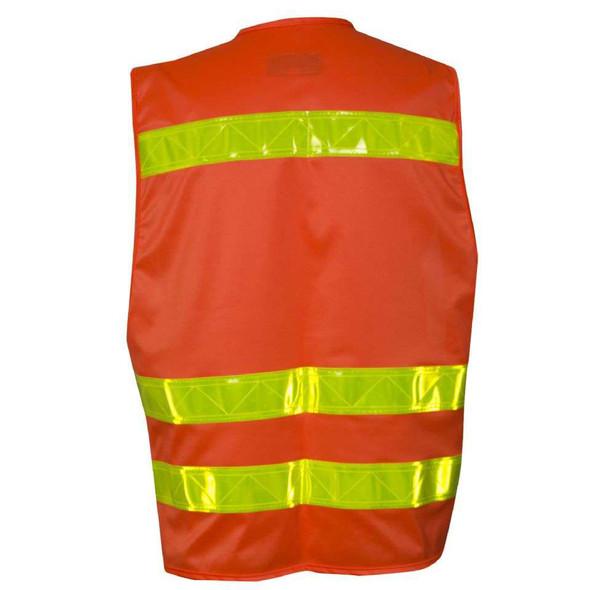 NSA Class 2 Hi Vis Orange Safety Vest with 4 Pockets VNT8043 Back