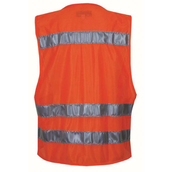 NSA Class 2 Hi Vis Orange Mesh Made in USA Traffic Safety Vest with Zipper Front VNT8149 Back