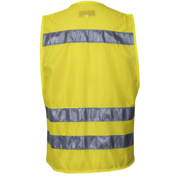 NSA Class 2 Hi Vis Yellow Mesh Traffic Safety Vest with Zipper Front VNT8150 Back