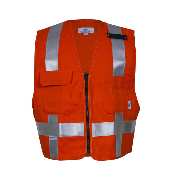 NSA FR Non-ANSI Hi Vis Orange Made in USA Electricians Safety Vest VNT99223 Front