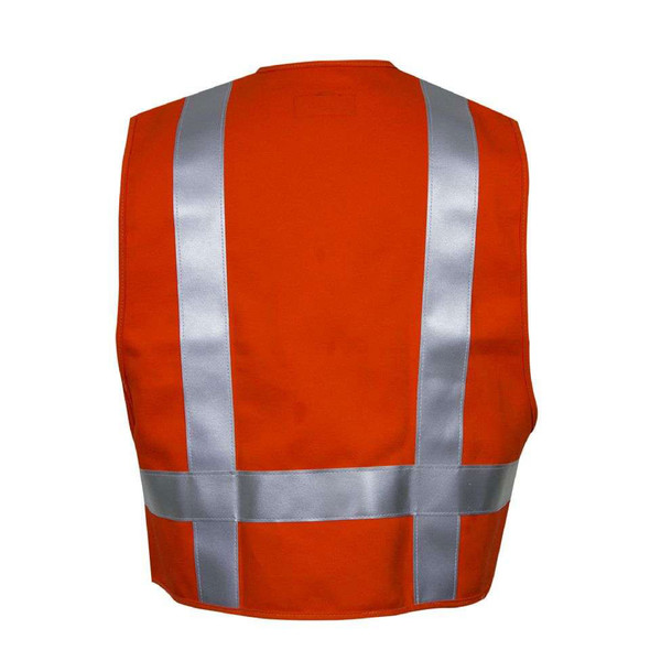 NSA FR Non-ANSI Hi Vis Orange Made in USA Electricians Safety Vest VNT99223 Back