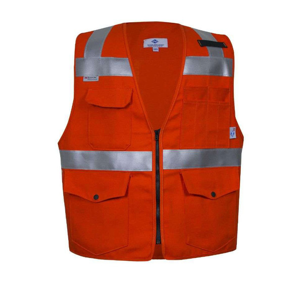 NSA FR Non-ANSI Hi Vis Orange Cotton Made in USA Survey Vest VNT99374 Front