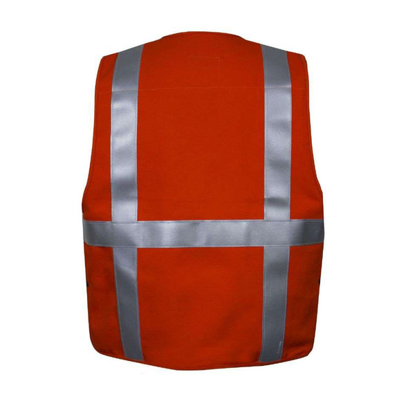 NSA FR Non-ANSI Hi Vis Orange Cotton Made in USA Survey Vest VNT99374 Back