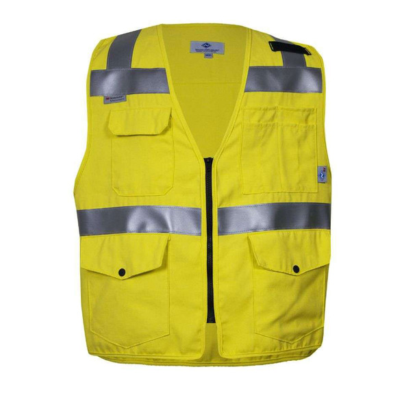 NSA FR Class 2 Hi Vis Yellow Moisture Wicking Electricians Survey Vest VNT99375 Front