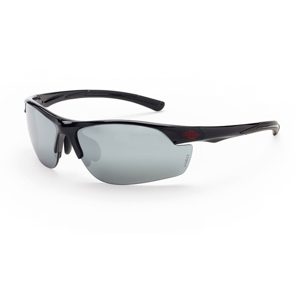 Crossfire AR3 Shiny Black Half-Frame Silver Mirror Lens Safety Glasses 1663 - Box of 12