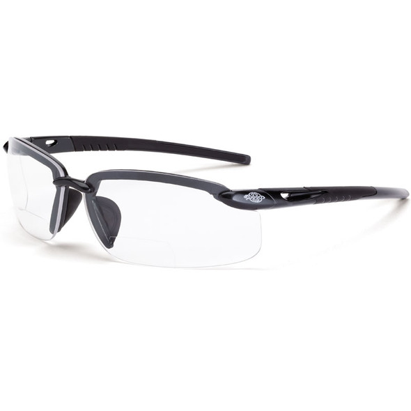 Crossfire ES5 Half-Frame Polarized Smoke Lens Bifocal Reader Safety Glasses - Box of 12