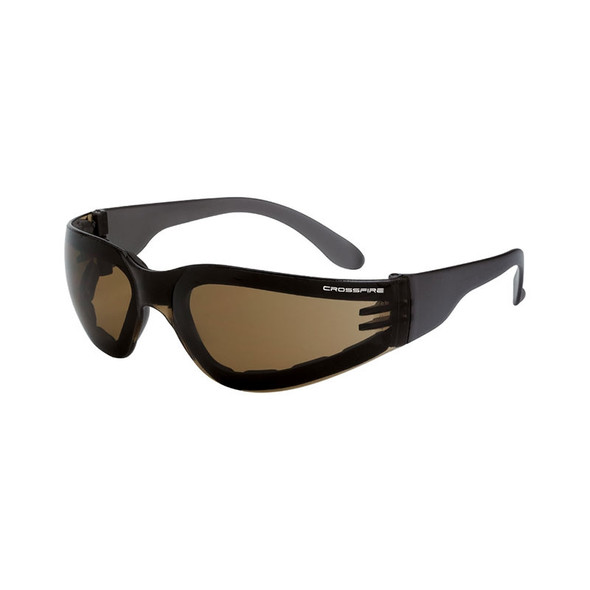 Crossfire Shield Foam Lined HD Anti-Fog Brown Lens Safety Glasses 546AF - Box of 12