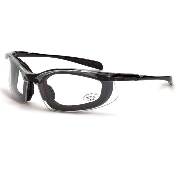 Crossfire Concept Half-Frame Foam Lined Bifocal Safety Glasses - Box of 12 Clear Lens