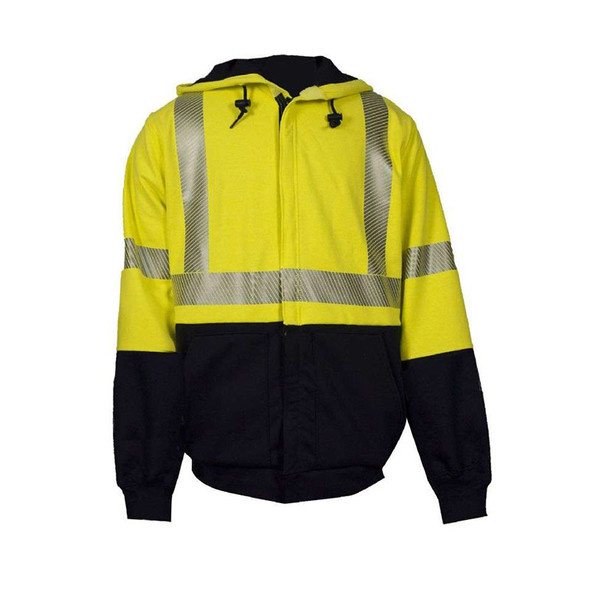 NSA FR Class 3 Hi Vis Black Bottom Zip Up Hooded Sweatshirt with Segmented Tape C21HC08C3