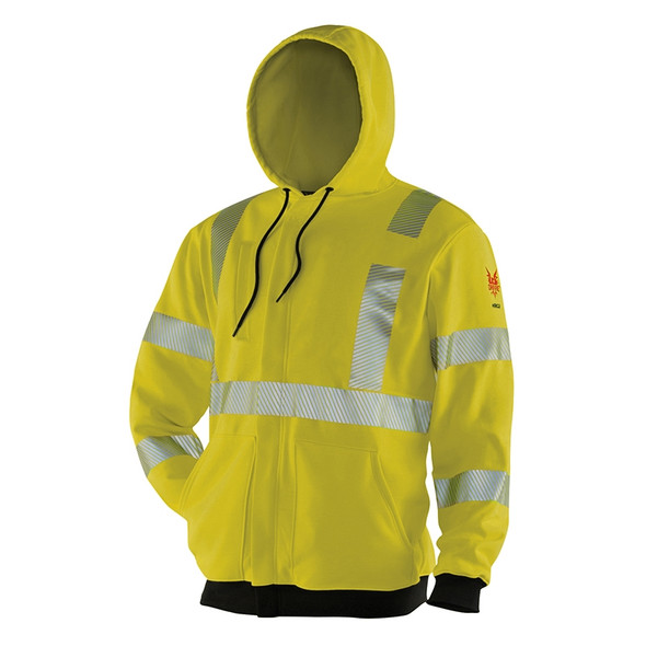 DriFire FR Class 3 Hi Vis Lime Hooded Sweatshirt DF2-AX3-277-HD-HY