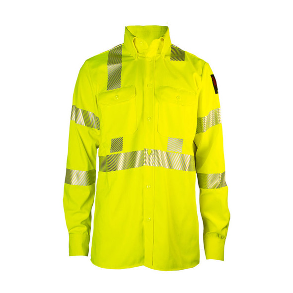 DriFire FR Class 3 Hi Vis Yellow Made in USA Utility Shirt DF2-AX3-324LS