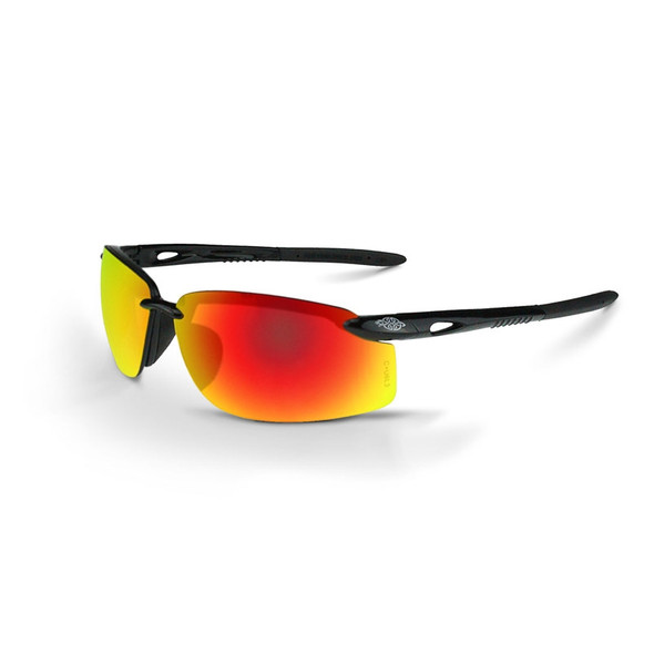 Crossfire ES5W Shiny Black Half-Frame Fire Mirror Lens Safety Glasses 12620W - Box of 12