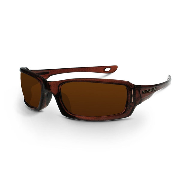 Crossfire M6A Crystal Brown Frame Silver Mirror Lens Safety Glasses 201130 - Box of 12