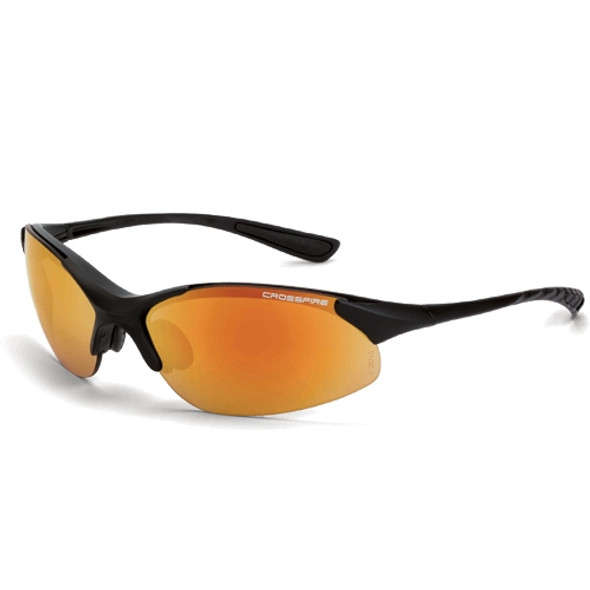 Crossfire XCBR Matte Black Half-Frame Red Mirror Lens Safety Glasses 1528 - Box of 12