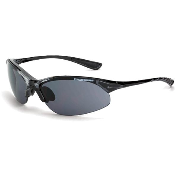 Crossfire XCBR Crystal Black Half-Frame Smoke Lens Safety Glasses 1541 - Box of 12