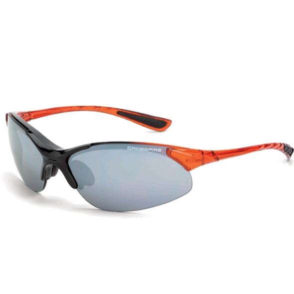 Crossfire XCBR Shiny Black Burnt Orange Half-Frame Silver Mirror Lens Safety Glasses 1583 - Box of 12