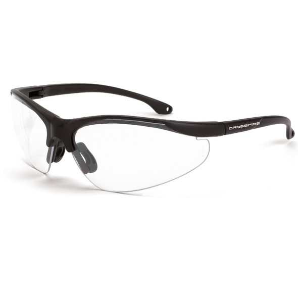 Crossfire Brigade Matte Black Half-Frame Clear Safety Glasses 1734 - Box of 12