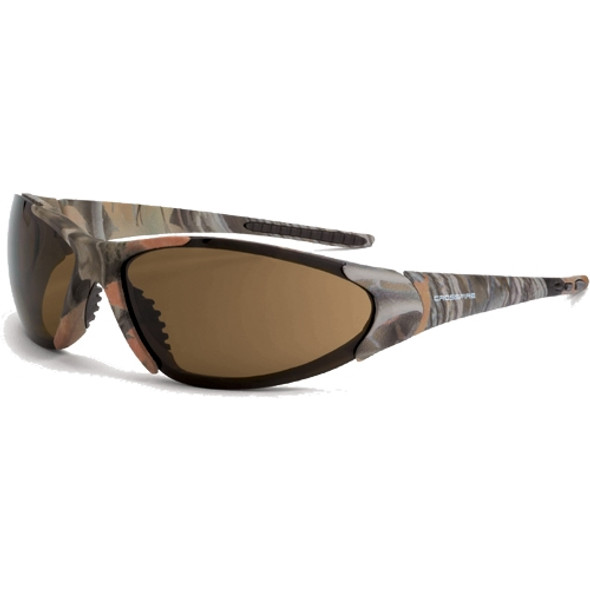 Crossfire Core Woodland Brown Camo Frame HD Brown Lens Safety Glasses 18146 - Box of 12